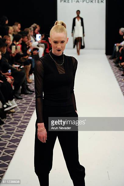 A model walks the runway for the Amanda Maria fashion show during the PretAPorter Runway at Affinia Hotel on February 14 2016 in New York City