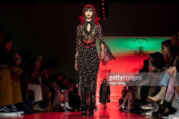 Model walks the runway for the Anna Sui fashion show during February 2020 - New York Fashion Week: The Shows at Gallery I at Spring Studios on...