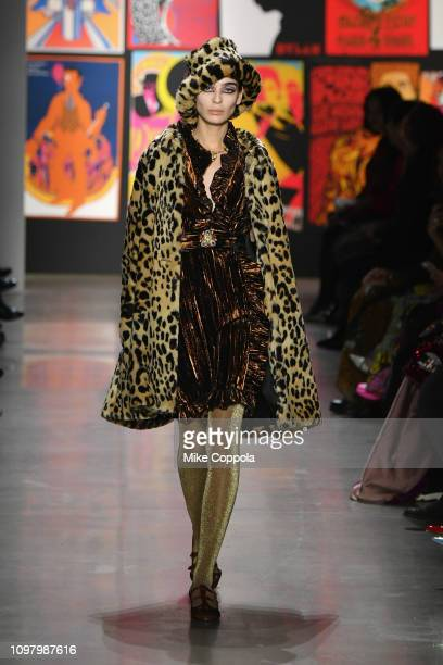 Model walks the runway for the Anna Sui fashion show during New York Fashion Week: The Shows at Gallery I at Spring Studios on February 11, 2019 in...