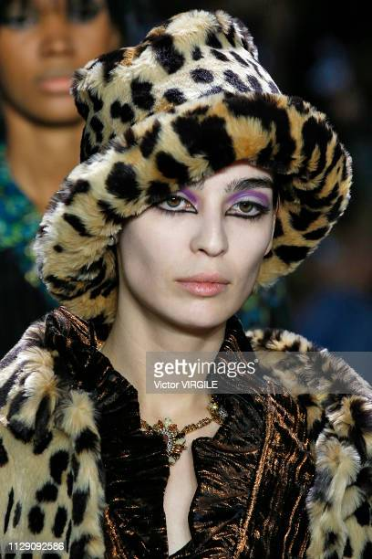 Model walks the runway for the Anna Sui Ready to Wear Fall/Winter 2019-2020 fashion show during New York Fashion Week on February 11, 2019 in New...
