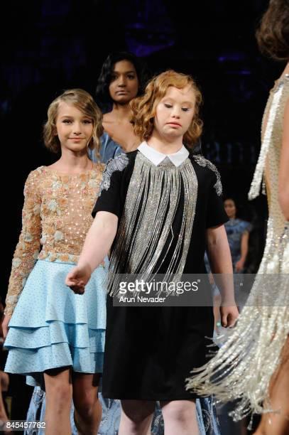 Model walks the runway for the Arzamendi Style fashion show during New York Fashion Week NYFW Art Hearts Fashion at The Angel Orensanz Foundation on...