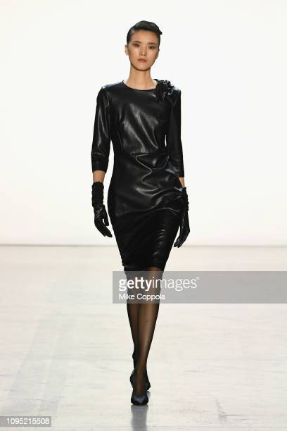 Model walks the runway for the Badgley Mischka fashion show during New York Fashion Week: The Shows at Gallery I at Spring Studios on February 7,...