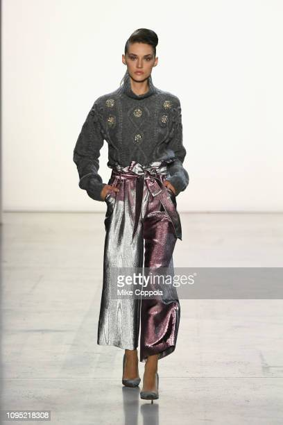 A model walks the runway for the Badgley Mischka fashion show during New York Fashion Week The Shows at Gallery I at Spring Studios on February 7...