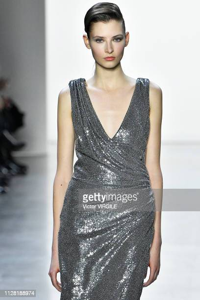 A model walks the runway for the Badgley Mischka Ready to Wear Fall/Winter 20192020 fashion show during New York Fashion Week on February 7 2019 in...