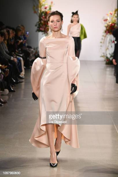 A model walks the runway for the Bibhu Mohapatra fashion show during New York Fashion Week The Shows at Gallery II at Spring Studios on February 11...