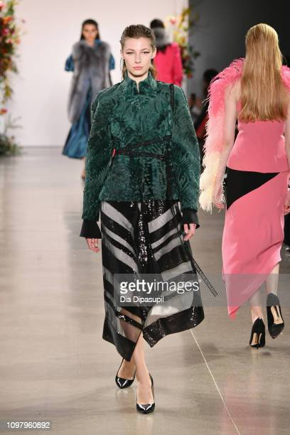 Model walks the runway for the Bibhu Mohapatra fashion show during New York Fashion Week: The Shows at Gallery II at Spring Studios on February 11,...