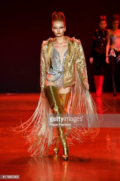 A model walks the runway for The Blonds during New York Fashion Week The Shows at Gallery I at Spring Studios on February 13 2018 in New York City