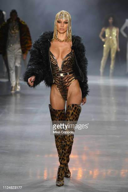 A model walks the runway for The Blonds fashion show during New York Fashion Week The Shows at Gallery I at Spring Studios on February 12 2019 in New...