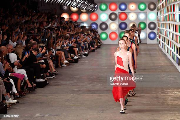 A model walks the runway for the Boss Womenswear fashion show during New York Fashion Week September 2016 at The Gallery Skylight at Clarkson Sq on...