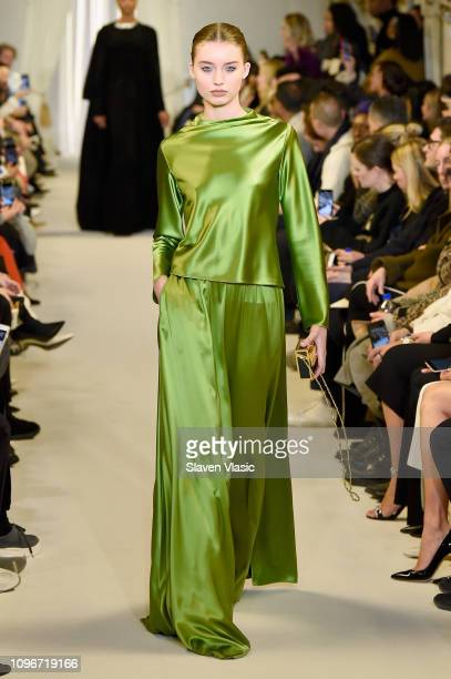 Model walks the runway for the Brandon Maxwell fashion show during New York Fashion Week: The Shows at Penn Plaza Pavilion on February 9, 2019 in New...
