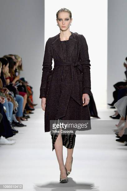 A model walks the runway for the Brock Collection fashion show during New York Fashion Week The Shows at Gallery I at Spring Studios on February 8...
