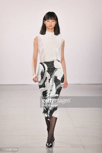 Model walks the runway for the Burnett fashion show during New York Fashion Week: The Shows at Gallery II at Spring Studios on February 12, 2019 in...