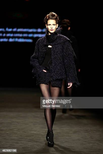 A model walks the runway for the Celia Vela collection at the '080 Barcelona Fashion Week 2015 Fall/Winter' at the Museu Maritim of Barcelona on...