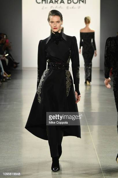 A model walks the runway for the Chiara Boni La Petite Robe fashion show during New York Fashion Week The Shows at Gallery II at Spring Studios on...