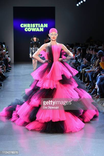 A model walks the runway for the Christian Cowan fashion show during New York Fashion Week The Shows at Gallery II at Spring Studios on February 12...