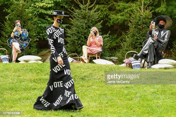Model walks the runway for the Christian Siriano Collection 37 2020 Fashion Show on September 17 2020 in Westport Connecticut