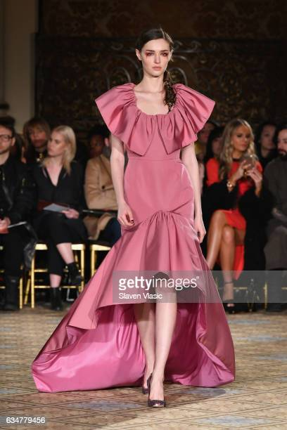 A model walks the runway for the Christian Siriano collection during New York Fashion Week The Shows at The Plaza Hotel on February 11 2017 in New...