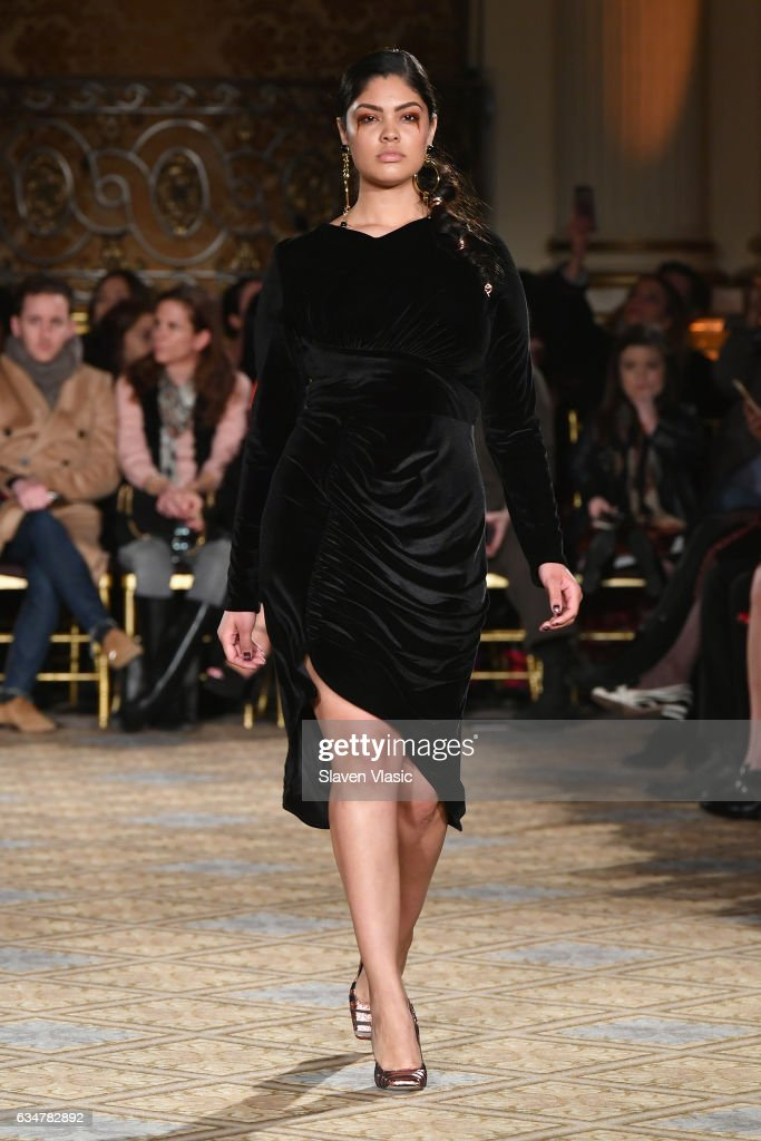 A model walks the runway for the Christian Siriano collection during, New York Fashion Week: The Shows at The Plaza Hotel on February 11, 2017 in New York City.