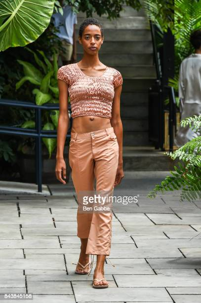 A model walks the runway for the Collina Strada Assembly New York Presentation at Soho Grand on September 7 2017 in New York City
