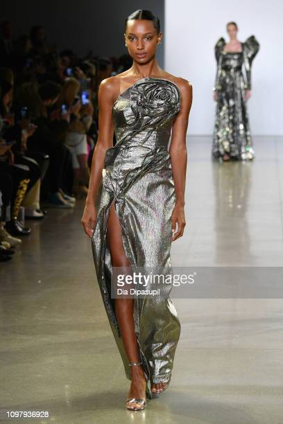 A model walks the runway for the Cong Tri fashion show during New York Fashion Week The Shows at Gallery II at Spring Studios on February 11 2019 in...