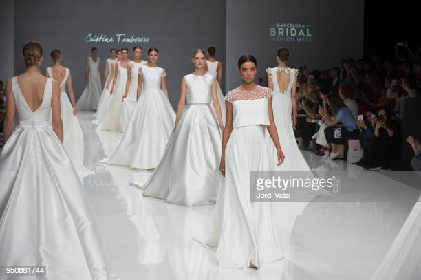 Model walks the runway for the Cristina Tamborero collection during Barcelona Bridal Fashion Week at Fira de Barcelona on April 24, 2018 in...