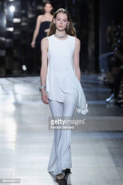 A model walks the runway for the Cushnie Et Ochs collection during New York Fashion Week at Gallery 1 Skylight Clarkson Sq on February 10 2017 in New...