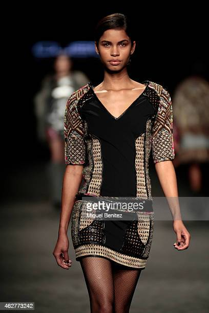 A model walks the runway for the Custo Barcelona collection at the '080 Barcelona Fashion Week 2015 Fall/Winter' at the Museu Maritim of Barcelona on...