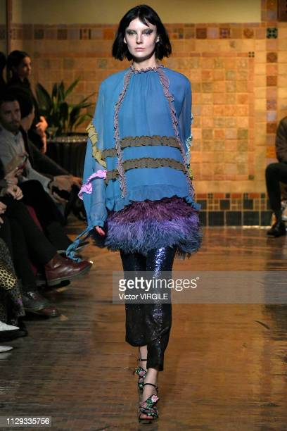 A model walks the runway for the Cynthia Rowley Ready to Wear Fall/Winter 20192020 fashion show during New York Fashion Week on February 12 2019 in...