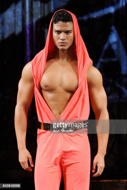 Model JanLuis Castellanos walks the runway for the Dair By Odair fashion show during New York Fashion Week NYFW Art Hearts Fashion at The Angel...