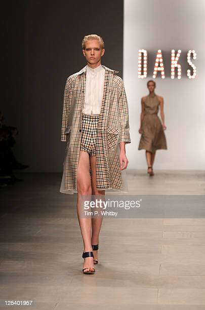 A model walks the runway for the Daks show at London Fashion Week Spring/Summer 2012 at the BFC Space at Somerset House on September 17 2011 in...