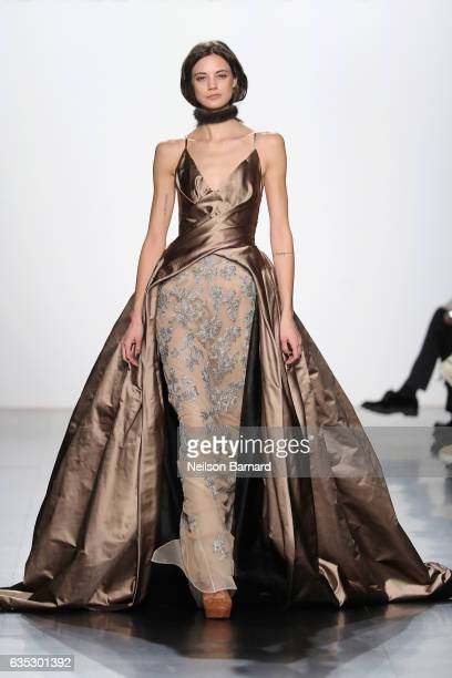 A model walks the runway for the Dennis Basso collection during New York Fashion Week The Shows at Gallery 1 Skylight Clarkson Sq on February 14 2017...