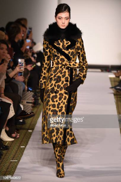 A model walks the runway for the Dennis Basso fashion show during New York Fashion Week The Shows at Cipriani 42nd Street on February 11 2019 in New...