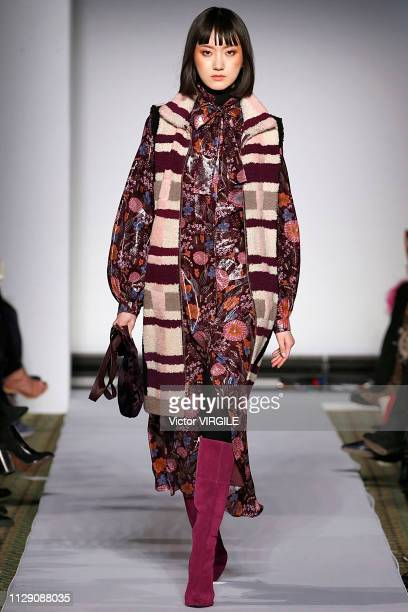 Model walks the runway for the Dennis Basso Ready to Wear Fall/Winter 2019-2020 fashion show during New York Fashion Week on February 11, 2019 in New...