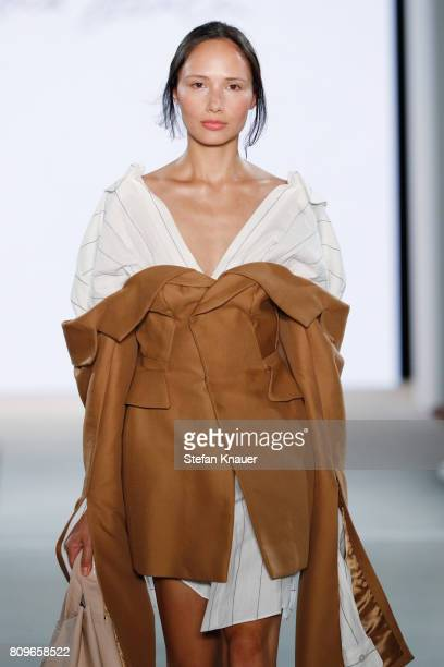 A model walks the runway for the designer Fatima Danielson at the fashion talent award 'Designer for Tomorrow' by Peek Cloppenburg and Fashion ID...