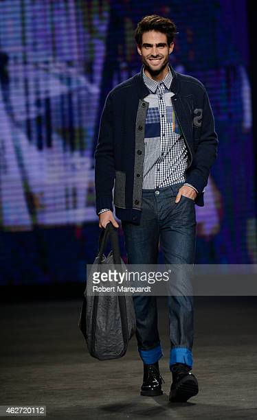A model walks the runway for the Desigual collection at the '080 Barcelona Fashion Week 2015 Fall/Winter' on February 3 2015 in Barcelona Spain