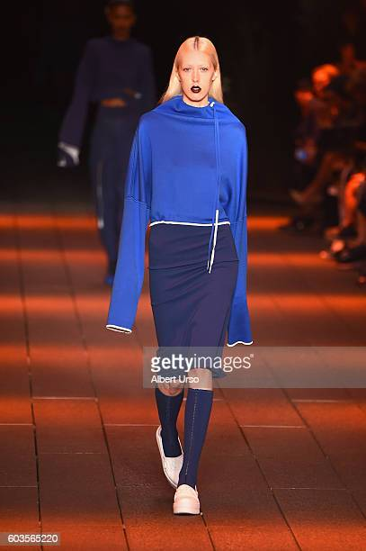 A model walks the runway for the DKNY Women fashion show during New York Fashion Week The Shows September 2016 at High Line on September 12 2016 in...