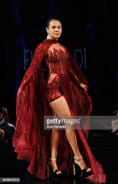A model walks the runway for the Elie Madi fashion show during New York Fashion Week NYFW Art Hearts Fashion at The Angel Orensanz Foundation on...