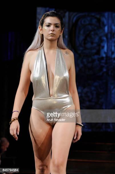 A model walks the runway for the Eliya Cioccolato fashion show during New York Fashion Week NYFW Art Hearts Fashion at The Angel Orensanz Foundation...