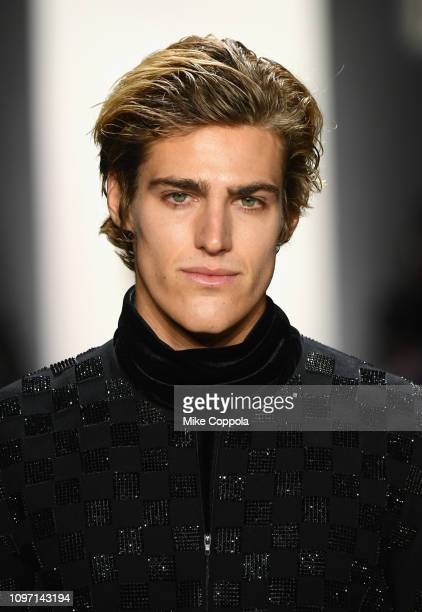 A model walks the runway for the Hakan Akkaya fashion show during New York Fashion Week The Shows at Gallery I at Spring Studios on February 10 2019...