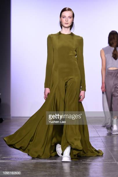 Model walks the runway for the Hogan McLaughlin fashion show during New York Fashion Week: The Shows at Industria Studios on February 7, 2019 in New...