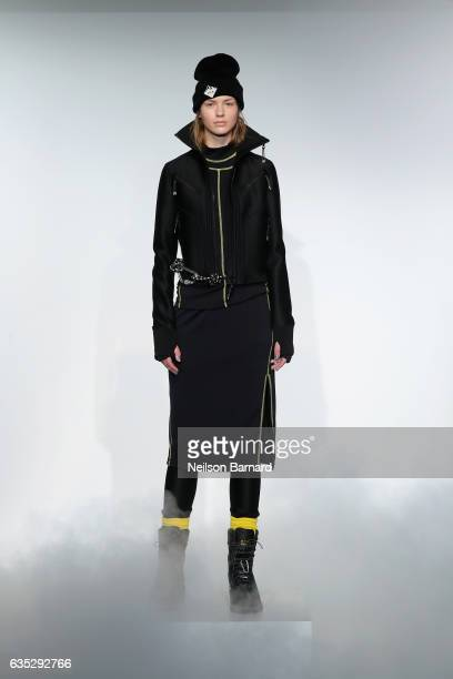 A model walks the runway for the ICB collection during New York Fashion Week The Shows at Gallery 3 Skylight Clarkson Sq on February 14 2017 in New...