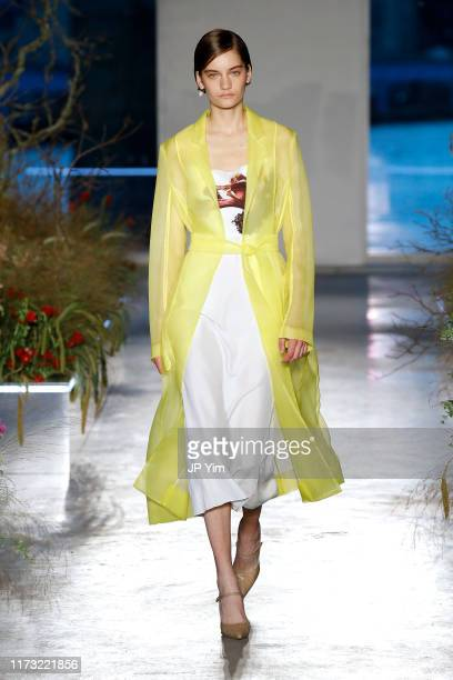 Model walks the runway for the Jason Wu Collection during New York Fashion Week: The Shows at Pier 17 on September 08, 2019 in New York City.