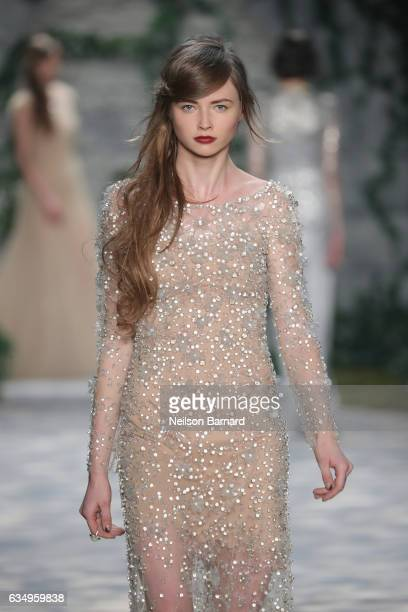 A model walks the runway for the Jenny Packham collection during New York Fashion Week The Shows at Gallery 3 Skylight Clarkson Sq on February 12...