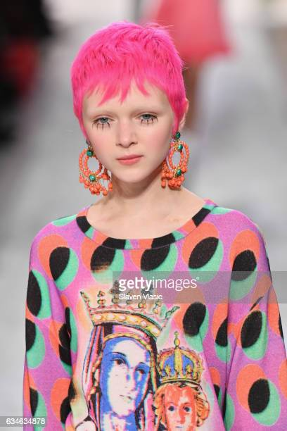 A model walks the runway for the Jeremy Scott collection during New York Fashion Week The Shows at Gallery 1 Skylight Clarkson Sq on February 10 2017...