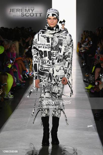 Model walks the runway for the Jeremy Scott fashion show during New York Fashion Week: The Shows at Gallery I at Spring Studios on February 8, 2019...