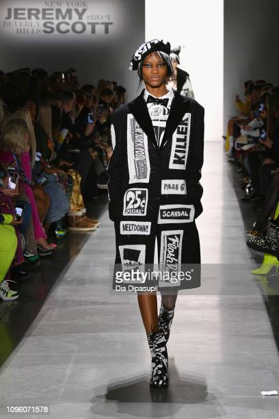 A model walks the runway for the Jeremy Scott fashion show during New York Fashion Week The Shows at Gallery I at Spring Studios on February 8 2019...