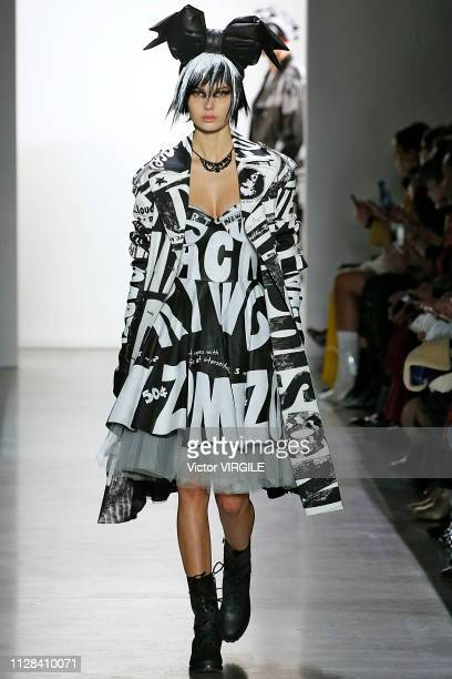 Model walks the runway for the Jeremy Scott Ready to Wear Fall/Winter 2019-2020 fashion show during New York Fashion Week on February 8, 2019 in New...