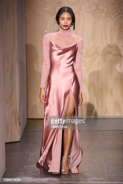 A model walks the runway for the Jonathan Simkhai fashion show during New York Fashion Week The Shows at Industria Studios on February 9 2019 in New...