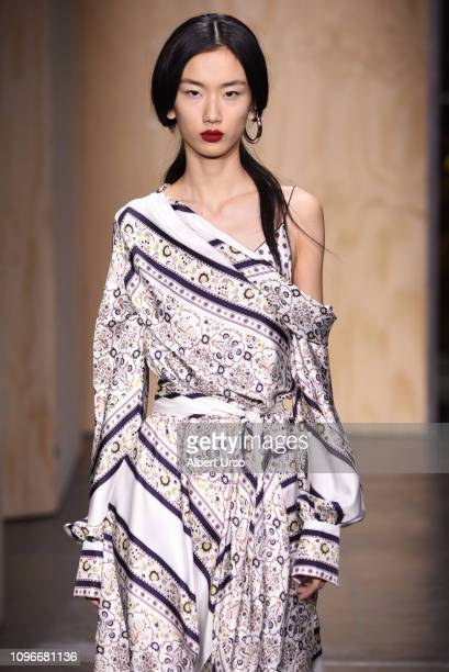 Model walks the runway for the Jonathan Simkhai fashion show during New York Fashion Week: The Shows at Industria Studios on February 9, 2019 in New...