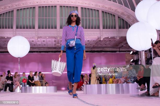 Model walks the runway for the Kate Spade Fashion Show during New York Fashion Week at New York Public Library on September 7, 2018 in New York City.